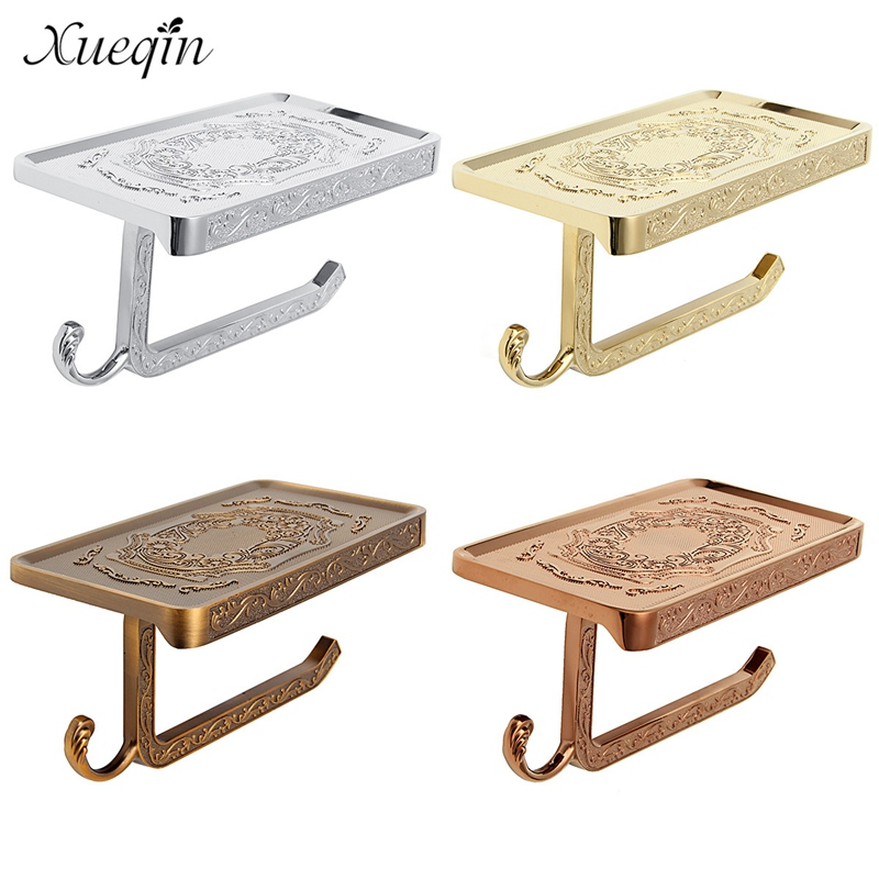 Xueqin Free Shipping Antique Carving Bathroom Toilet Roll Paper Holder Rack Shelf Wall Mounted Phone Tissue Paper Book Holder art zerkalo зеркало kingsley gold