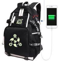 2018 Anime Naruto Canvas USB Charge Backpacks Unisex Naruto Luminous Schoolbag Mochila Escolar Large Rucksack 020801