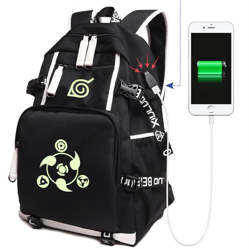 2018 Anime Naruto toile USB Charge sacs à dos unisexe Naruto lumineux cartable Mochila Escolar grand sac à dos 020801