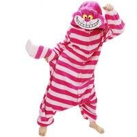 Mężczyźni Kobiety Unisex Dorosłych Zwierząt Cheshire Cat Jednoczęściowe Body Kombinezony Zimowe Piżamy Anime Costume Dress Robe