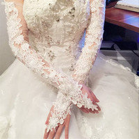 The Bride Wedding Dress Wedding Accessories Long Wedding Gloves Elastic Lace Gloves Bridal 2017 New Bride