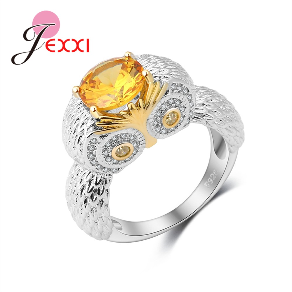 JEXXI Newest Cute Owl Ring Design 925 Sterling Silver Animal Style Set Light Yellow Round Crystal Stone Women Party Normal Bague