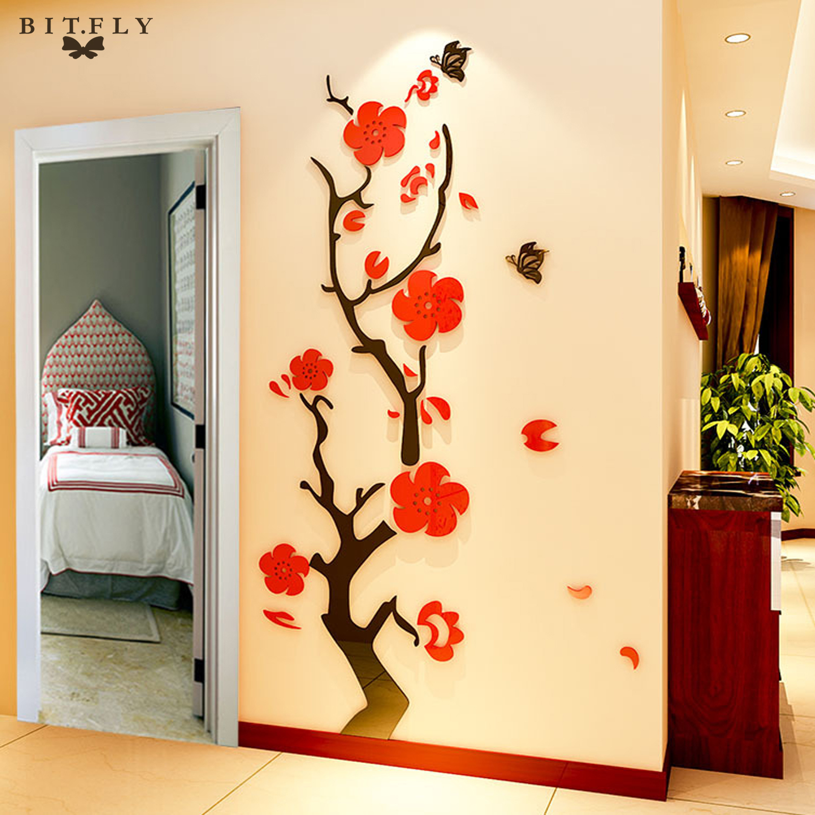 Hot sale 3d removable flowers tree arcylic wall sticker - Removable wall stickers living room ...