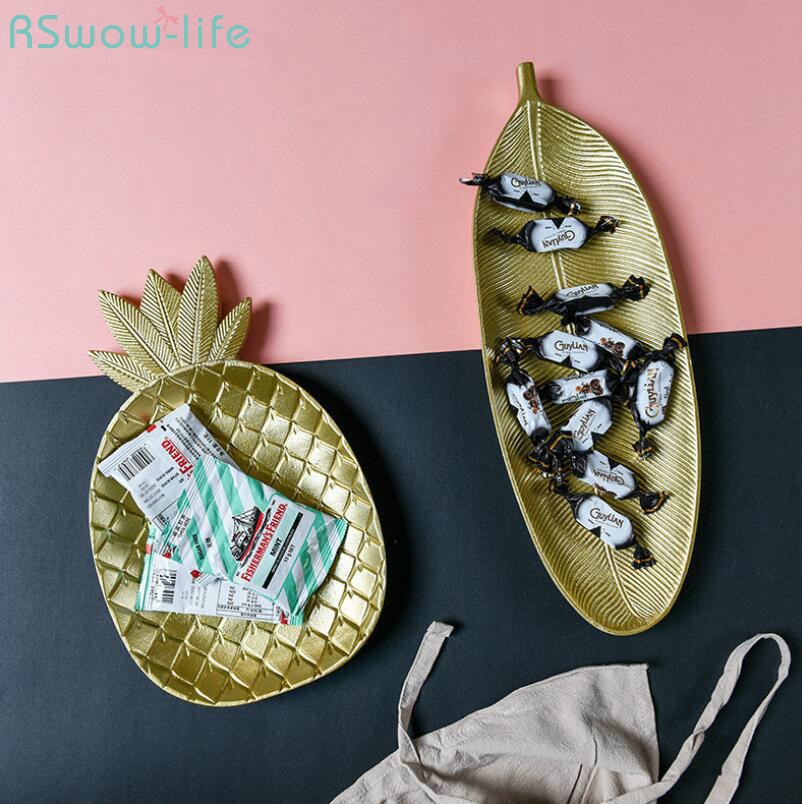 Nordic Golden Pineapple Dessert Fashion Geometry Table Store Candy Wood Receiver Plate Serving Plates Snack Candy Dish in Dishes Plates from Home Garden
