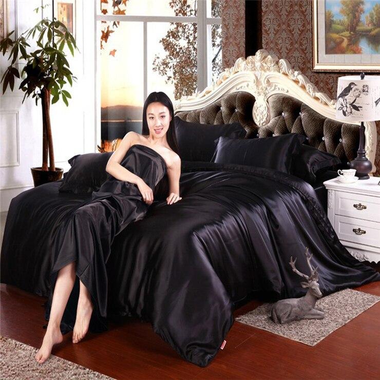 Beautiful Home Textile Luxury Silk Satin Bedding Set 16 Solid Color Bed Linen 4pcs  Duvet Cover+