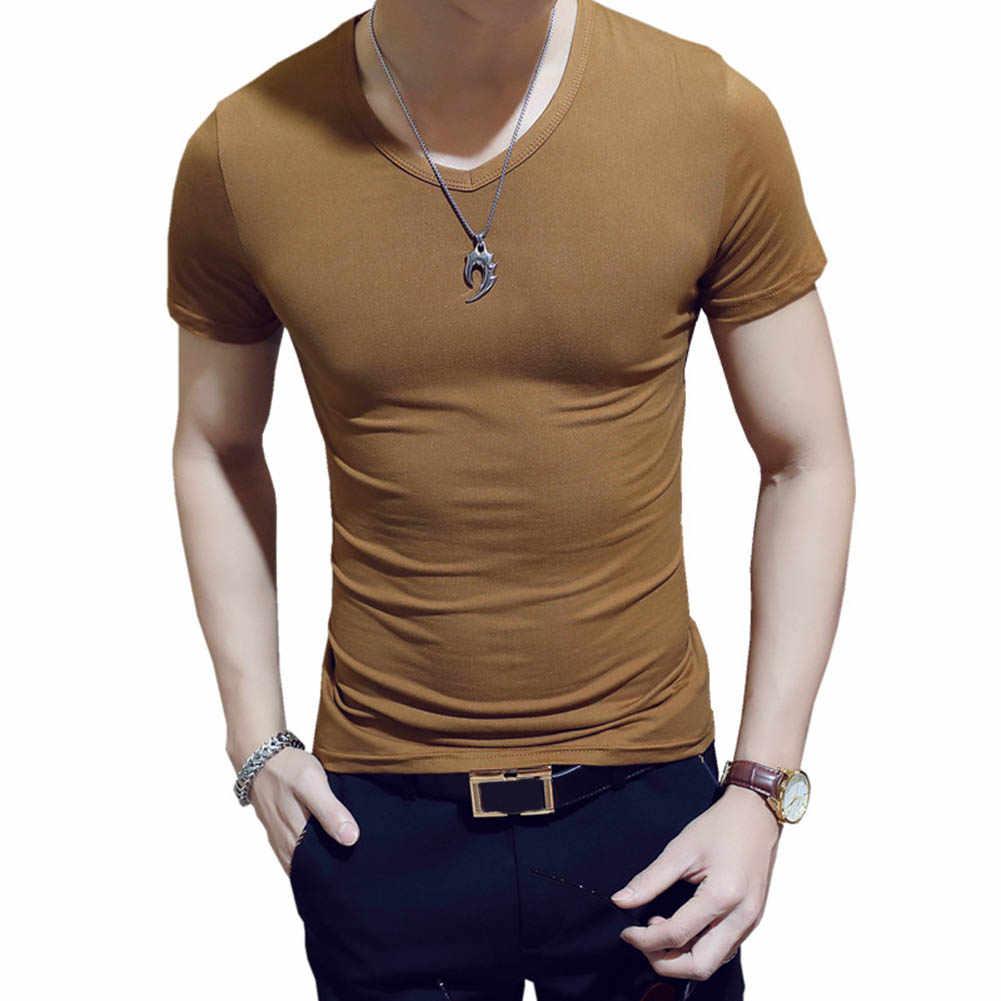 韓国の夏の男性 Tシャツ半袖 V ネック無地トップスジムフィットネスカジュアルシャツ NGD88
