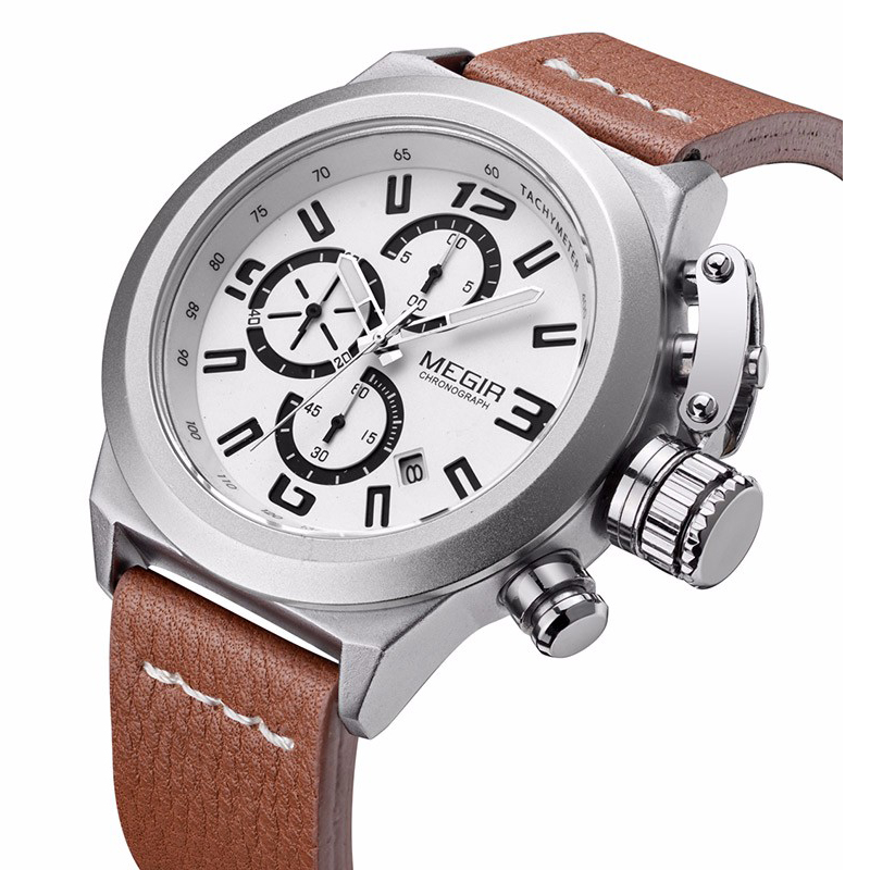 Luxury Quartz Watch Men 3ATM Water Resistant Genuine Leather Strap Trendy Man Wristwatch with Date Brand Chronograph Male Clock jubaoli rotatable bezel male watch quartz leather strap wristwatch