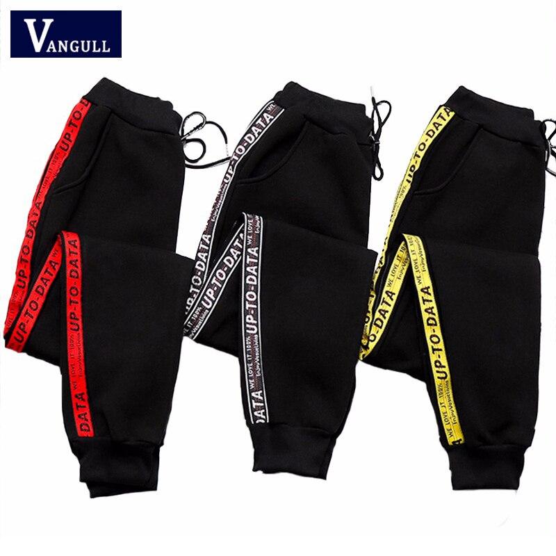 2019 Moda Primavera Verão Novo Estilo versão Coreana Mulheres Imprimir Calças Listradas mulheres seção Fina Cintura Alta calças casuais de esportes