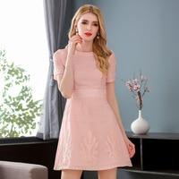 Iadoaixnal White Pink O Neck Short Sleeve A Line Casual Women Dress Cute Fashion Evening Wedding