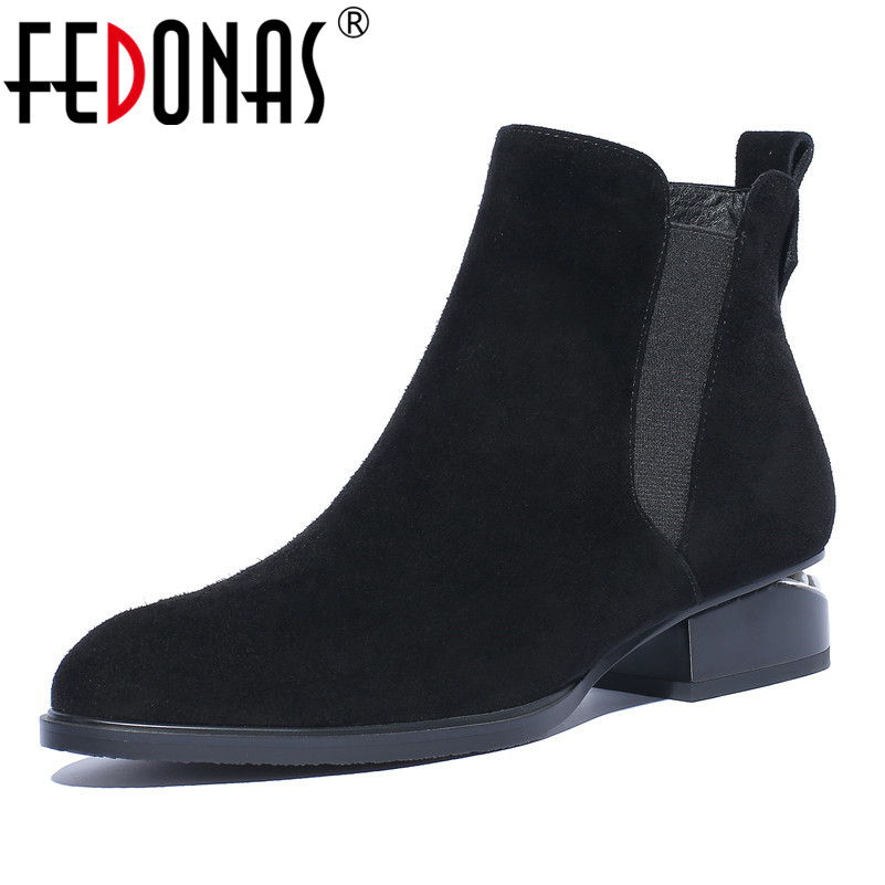 FEDONAS 1Fashion Women Ankle Boots Suede Leather Autumn Winter Warm High Heels Shoes Woman Zipper Round Toe Casual Basic Boots 2018 new arrival genuine leather zipper runway autumn winter boots round toe high heels keep warm elegant women ankle boots l29