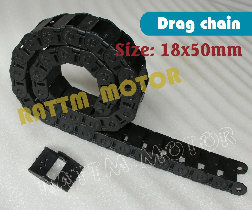 2M half seal open 18 x 50mm Cable drag chain wire carrier with end connectors plastic towline for CNC Router Machine Tool 1000mm