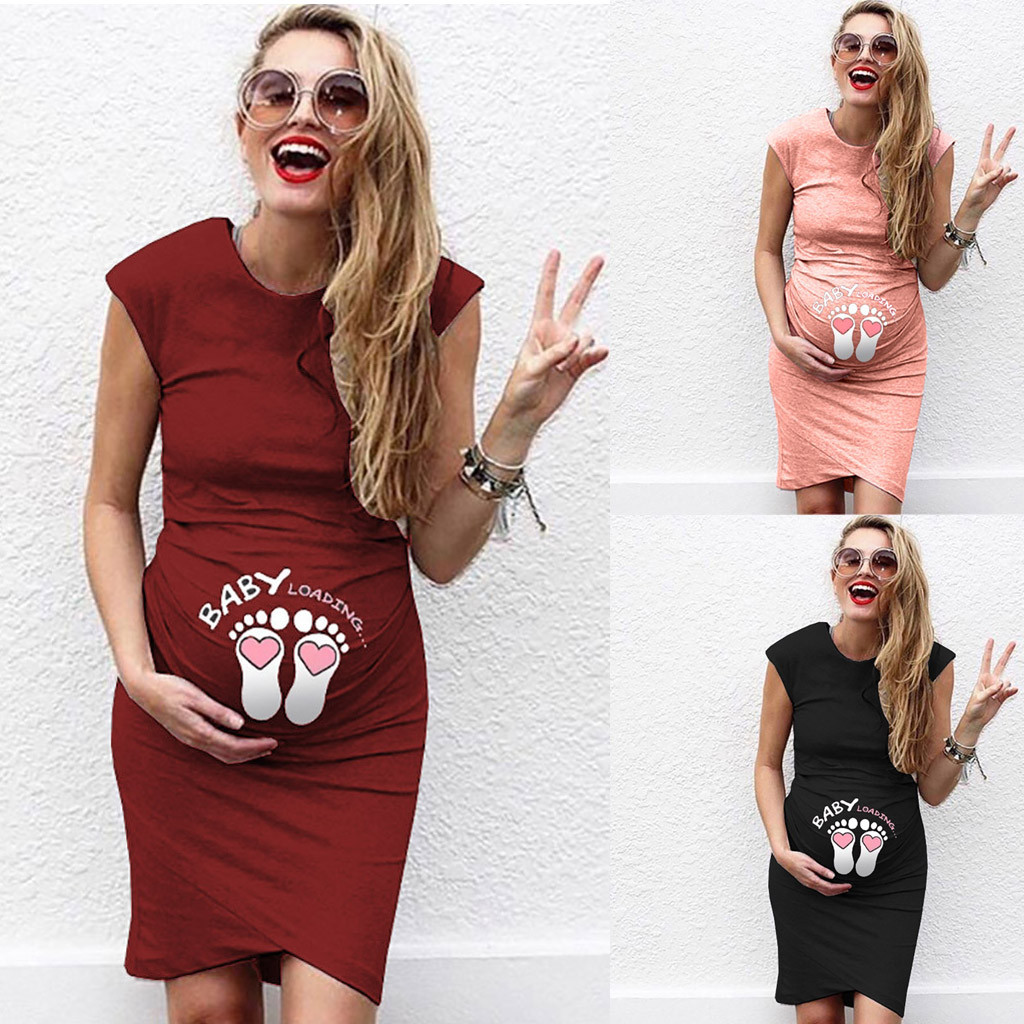 Pregnant Women Sleeveless Dress Baby Foot Printed Summer Funny Casual Maternity Dress Mother Maternity Clothes Dress Hamile