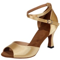 Satin noble sexy Latin belly dancing shoes professional leather soft sole women's shoes