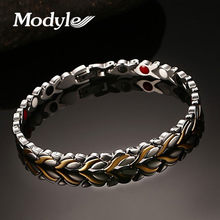 Modyle Brand Design Fashion Health Energy Bracelet Bangle 316L Stainless Steel Magnetic Bracelets for Women(China)