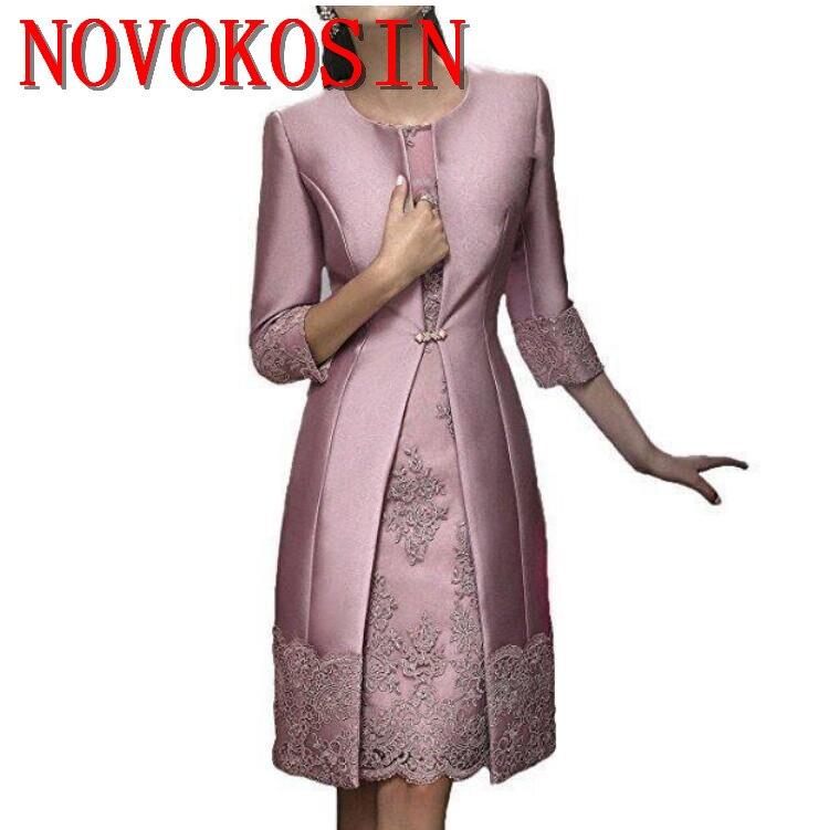 Appliqué genou longueur mère de la mariée robes tenue de soirée avec veste Satin dentelle fête mariage invité robe 2019 mère costume