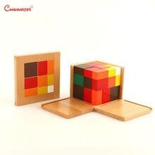 Arytmetyczna kostka trójdzielna zabawki drewniane pudełko Montessori materiały dydaktyczne dla studentów bloki drewniane zabawki matematyczne dla dzieci