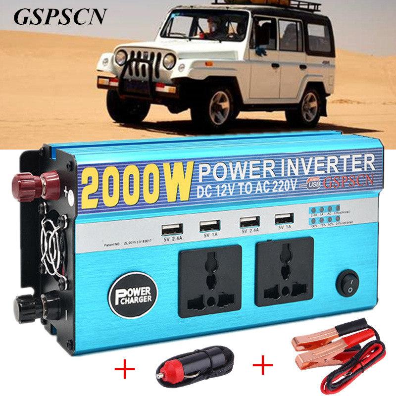 Prix pour Camion De Voiture Power Inverter 12 V 24 V à AC 220 V Véhicule USB adaptateur Convertisseur avec 4 USB 2 Plug Multifonction Chargeur Fit ci-dessous 800 W