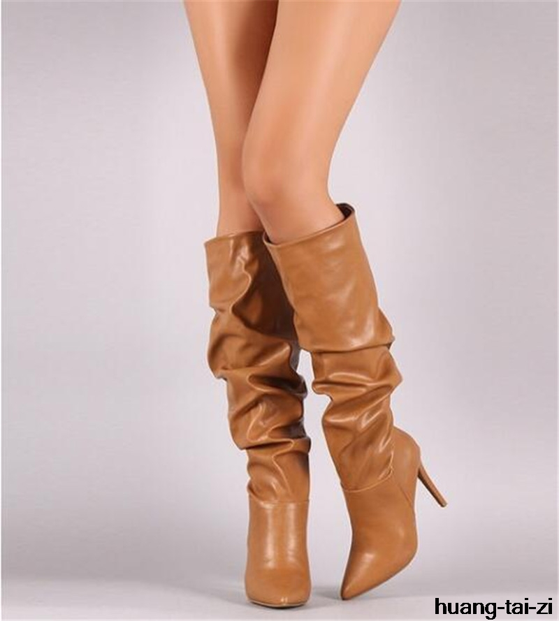 Patent Leather Sexy Thigh High Heel Boots Winter Women Over the Knee Boots Plus Size Shoes Platform Zipper Black Brown Color 44 plus size patent leather over the knee boots for women black women winter boots sexy high heels long boots ladies platform shoes