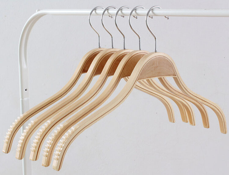 free shipping natural laminated wood jacket hanger wood outerwear hanger 20 pieces