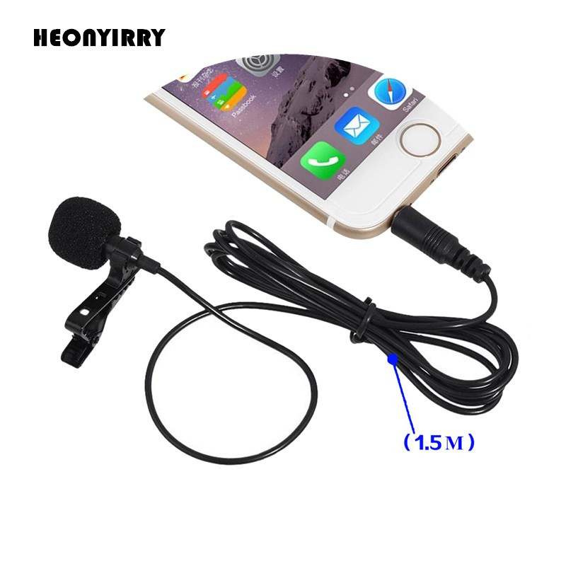 Mini 3.5mm Jack Microphone Lavalier Tie Clip Microphones Microfono Mic For Speaking Speech Lectures 1.5m Long Cable