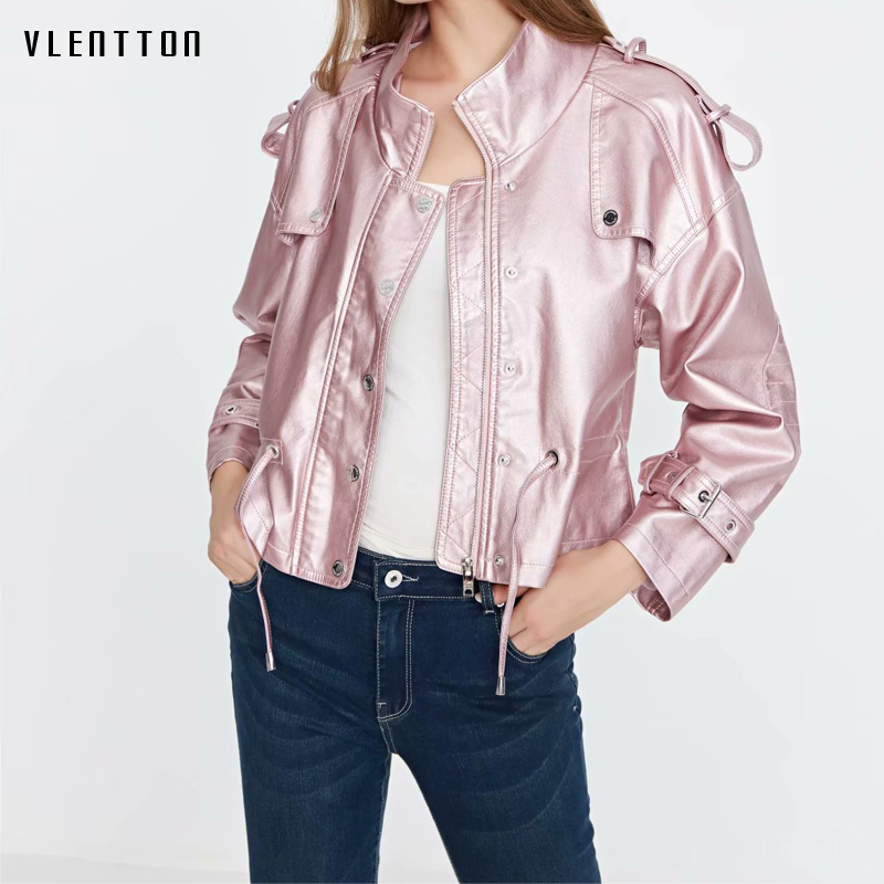 2019 New Faux   Leather   Jacket Women Lacing Long Sleeve Short Pu   Leather   Outwear Spring autumn Casual Pink Black Biker Jacket Coat