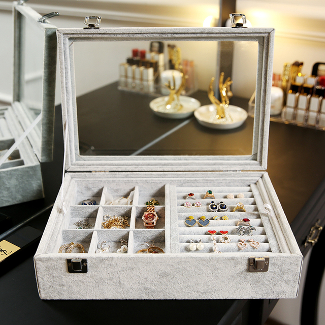 ANFEI Jewelry Display Velvet Gray Carrying Case with Glass Cover Jewelry Ring Display Box 2