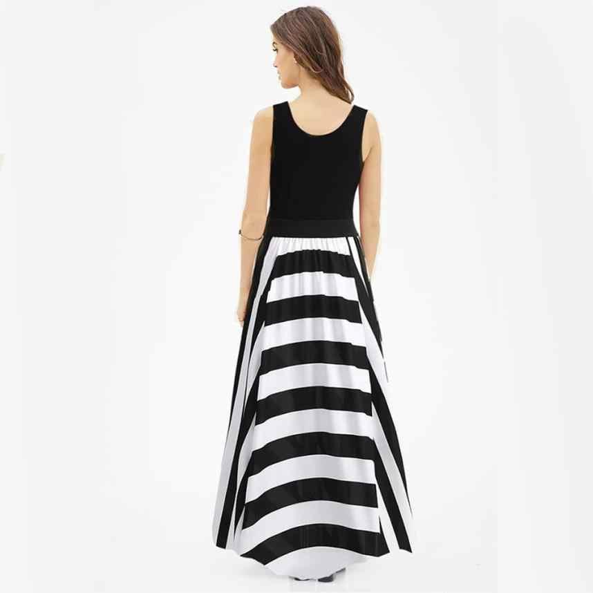 Fashion Striped Maxi Long Dress Women Summer Sleeveless Patchwork Boho Beach Sundress Lady O-Neck Casual Loose Dresses #YL5