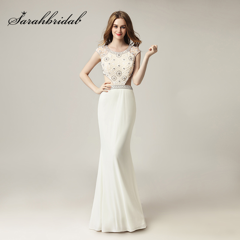 New Fashion Ivory Beaded Crystal   Prom     Dresses   2018 Sexy Cut Out Back Long Evening Party Gowns Real Photos In Stock OL433