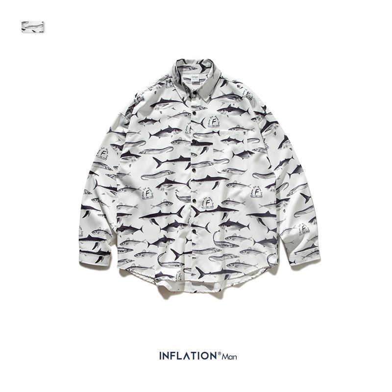 INFLATION Hawaiian Shirt Mens Long Sleeve Hip Hop Street Wear Men Casual Shirt 2019 Male Tops Man Loose Brand Clothing 92146W