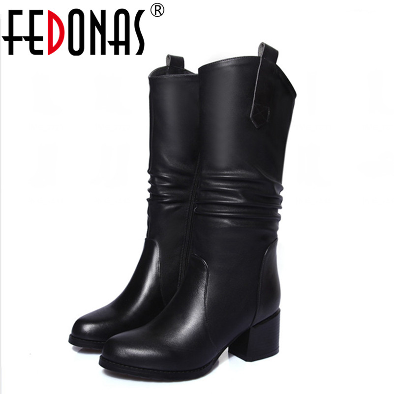 FEDONAS Brand Autumn Winter Boots Women Mid-calf Genuine Leather +High Quality Pu Thick High Heeled Motorcycle Boots Shoes Woman fedonas woman warm wool snow boots winter genuine leather thick high heeled motorcycle boots shoes women cow suede quality boot