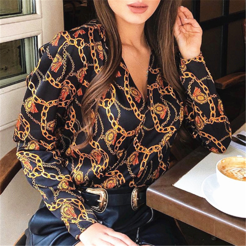 Fashion Women Password Chain Printed Vintage   Blouse     Shirts   For Women Vogue High Street Cross Sexy V Neck   Blouses   Tops Lady   Shirt