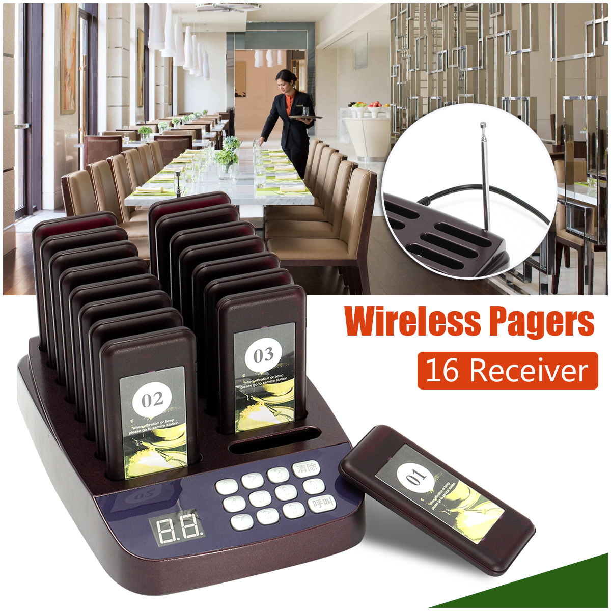 Restaurant Pager Wireless Paging Queuing System 1 Transmitter+16 Call Coaster Pagers 999 Channel Chargeable Restaurant Equipment tivdio wireless restaurant pager guest paging queuing system 1 transmitter 20 chargeable pagers restaurants equipments f9401a