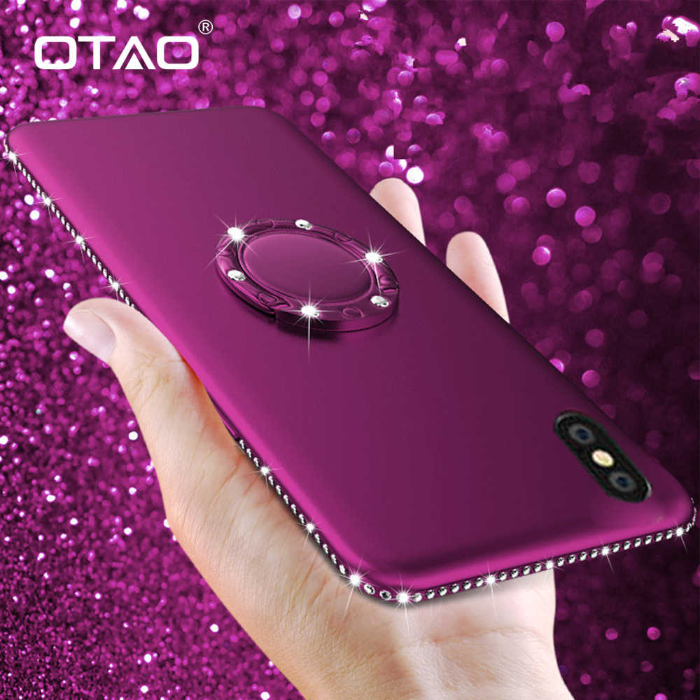 OTAO 3D Bling Diamond Soft Silicone Case For iPhone 7 8 6 6s Plus XS MAX XR X Magnetic Phone Case Finger Ring Holder Cover Coque