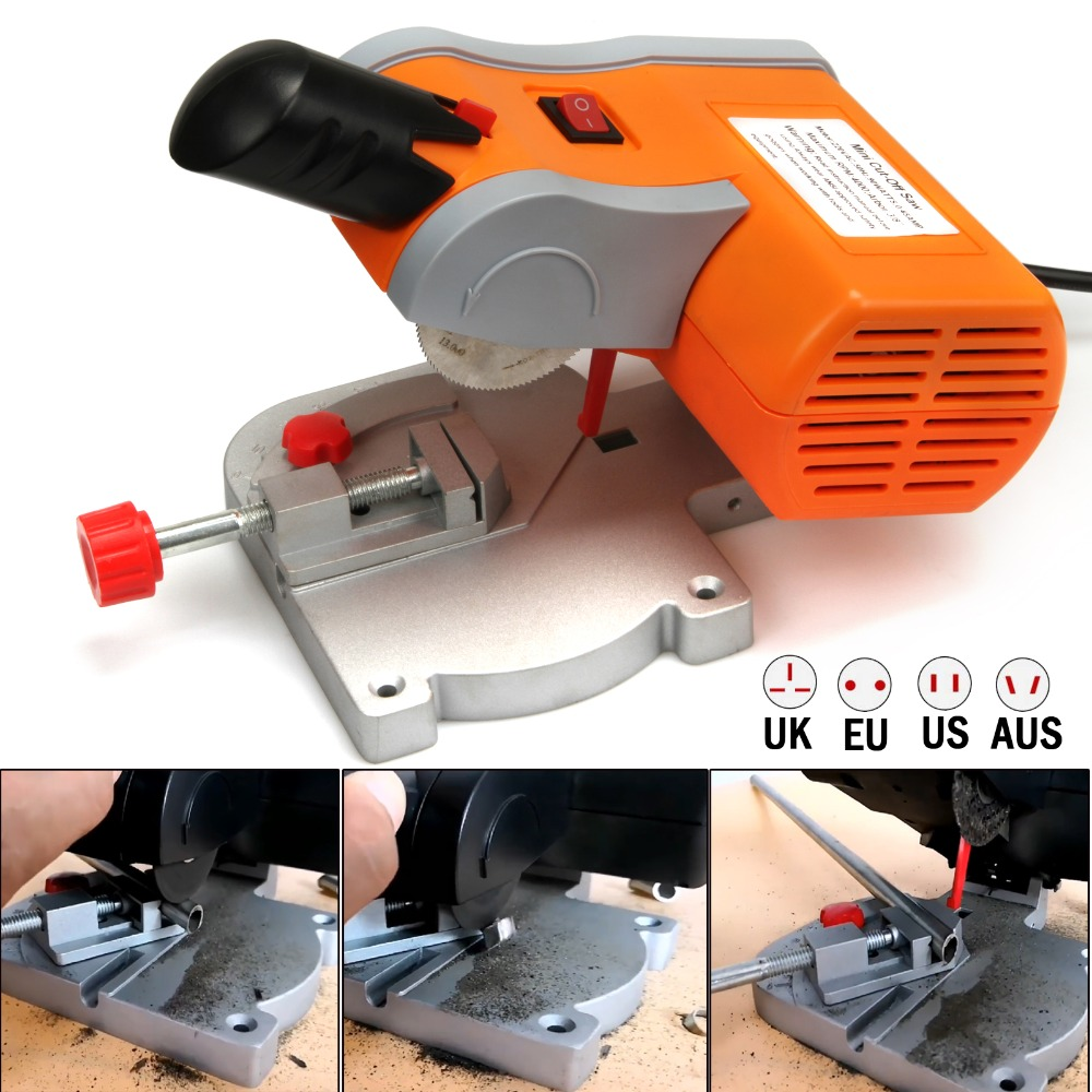 Mini 6000RPM 2 Cutting Machine Bench Cut-off 0-45 Degrees Miter Saw Slicing Machine Cutter For PVC Wood Metal Cutting 6000rpm 2 multi mini table saw bench cut off saw steel blade for cutting metal wood plastic with adjust miter gauge