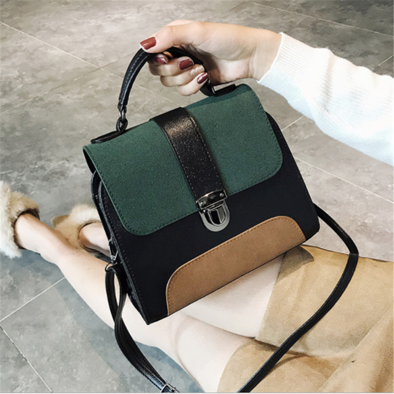 B0064Casual Crossbody Bag for Women PU Leather Handbag Girl Patchwork Color Purse Clutch Fashion Designer Messenger Shoulder Ba