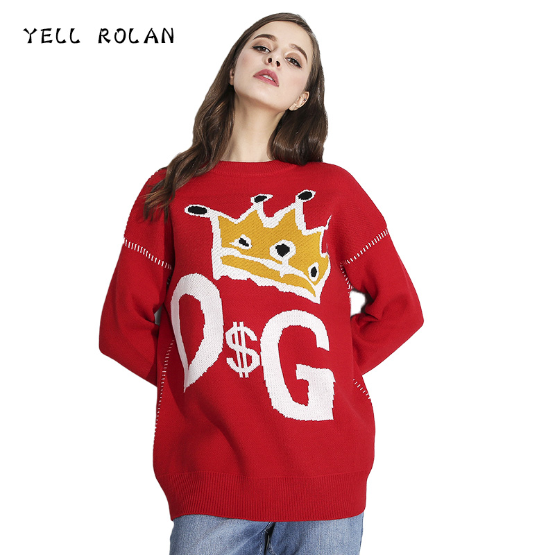 YELL ROLAN 2018 Fashion Women Christmas Sweater Long Sleeve Patchwork Knitwear Casual Loose Knitted Tops Spring Lovely Pullover