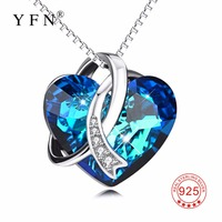 2328e9c39d12 YFN Geniuses 925 Sterling Silver Blue Heart Of Ocean Necklaces Pendants  With Crystals From Swarovski Chain