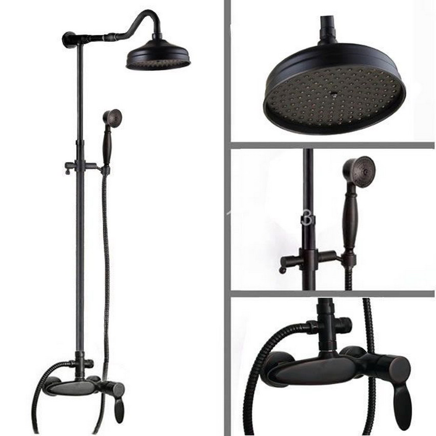 Wall Mounted Black Oil Rubbed Brass Bathroom Rain Shower System with 8 inch Round Shower Head & Hand Shower Set  ars724 led light 12 brass rain shower head wall mount shower arm bathroom round shower head oil rubbed bronze