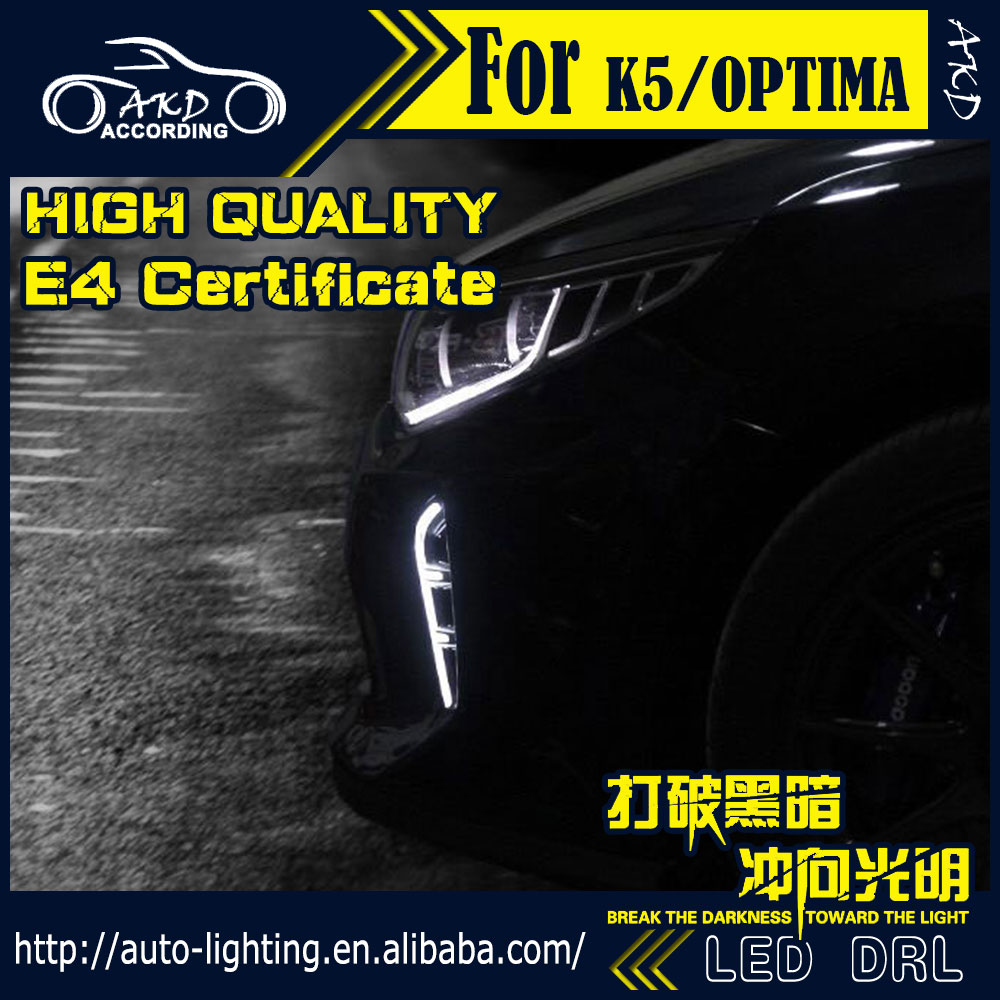 AKD Car Stying LED Daytime Running Light for Kia K5 DRL 2016 New Optima LED DRL Korean Style Fog Lamp Automotive Accessories akd car styling for kia k5 drl 2014 2015 new optima led drl korea design led running light fog light parking accessories