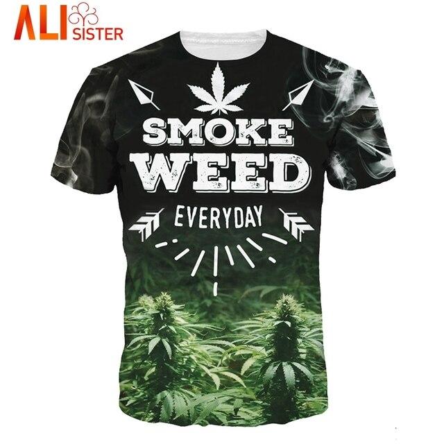 Couple Alice T Shirt Summer Men Women 3d Print Smoke Weed Pattern T Shirt  Camisetas Short Sleeves O-Neck Compression Tees Homme c59371634c0b