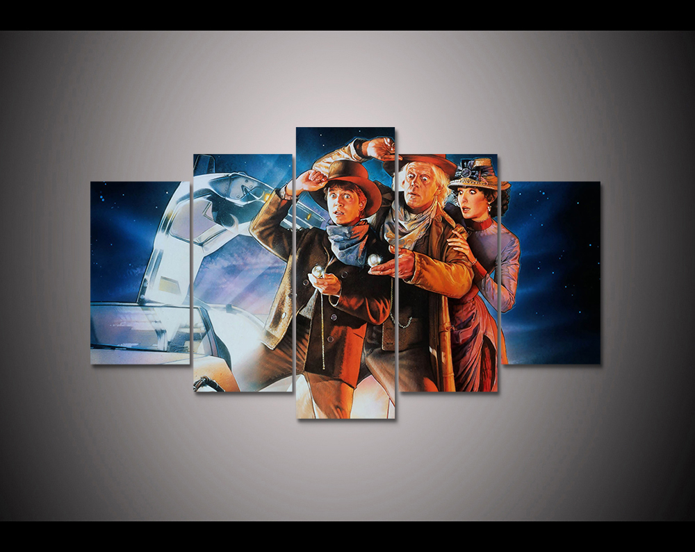 5 panel HD printed canvas print painting back to the future canvas poster Home Decor Wall art Pictures For Living Room F1815