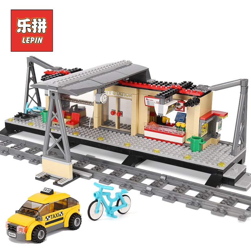 Lepin City Series 02015 Rail Train Station track Taxi Building Blocks Bricks Model Set DIY Educational Children Toy Lepin lepin 02015 456pcs city series train station car styling building blocks bricks toys for children gifts compatible 60050