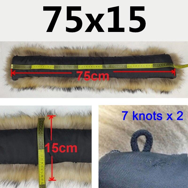 Натуральный меховой воротник, Зимний натуральный мех енота, женские шарфы, пальто, шарфы, роскошная Мужская парка, женская теплая 60 см, 70 см, 80 см,#2 - Цвет: 7515