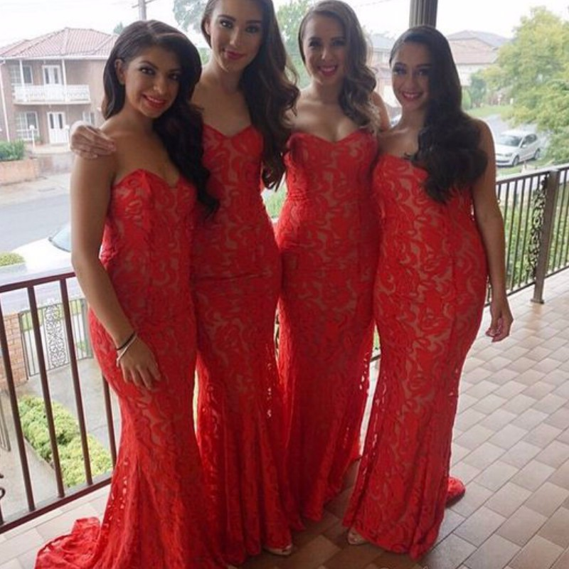 Red 2017 Mermaid Sweetheart Floor Length Lace Long font b Bridesmaid b font font b Dresses