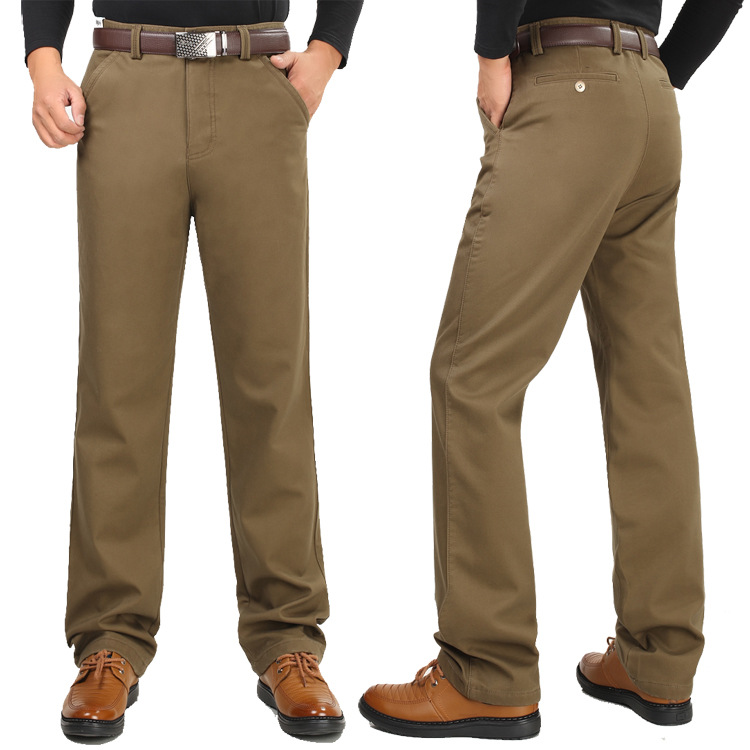 Image 3 - Winter thick men casual pants with velvet thicken high waist  comfortable middle aged mens cotton business straight long pants  -