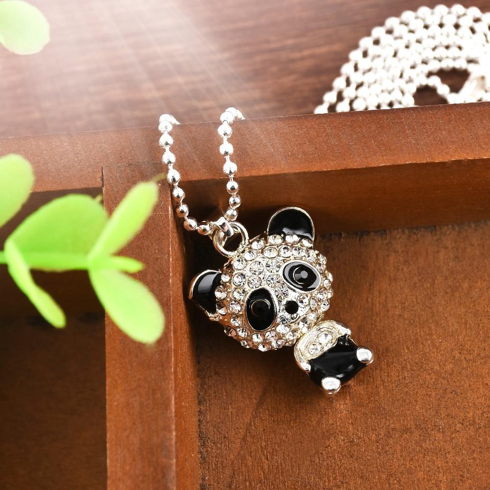 Pretty Crystal Women Long Fashion Panda Pendant Necklace Jewelry Sweater Chain