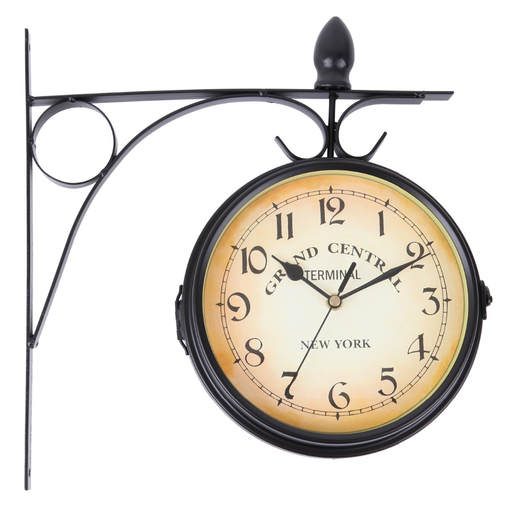 (Ship from EU) Home Garden Indoor Wall Clock Outside Bracket Double Sided Black Station