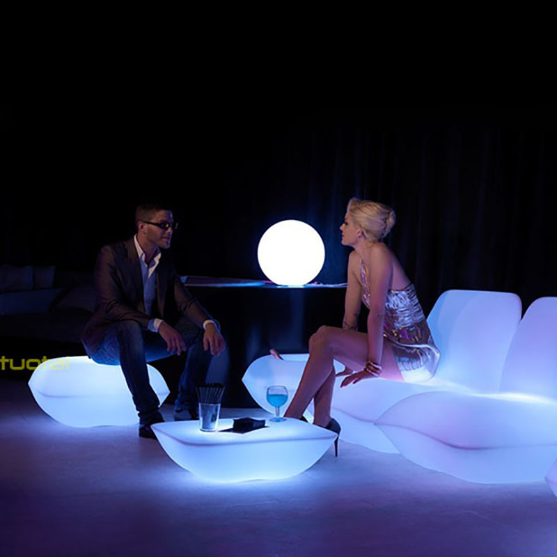 tables spheres hire furniture poseur cubes led