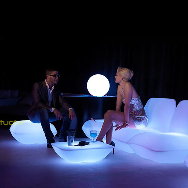led table and chairs craft room chair vondom furniture illuminated bar stool event glowing