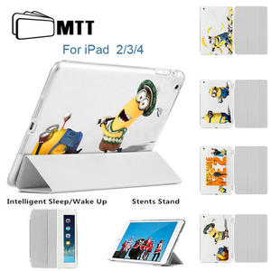 MTT For IPad 2th 3th Case Apple 4 Ipad 3 2 Flip Smart Stand Magnet Cover Leather Printed Minions Golf Cases